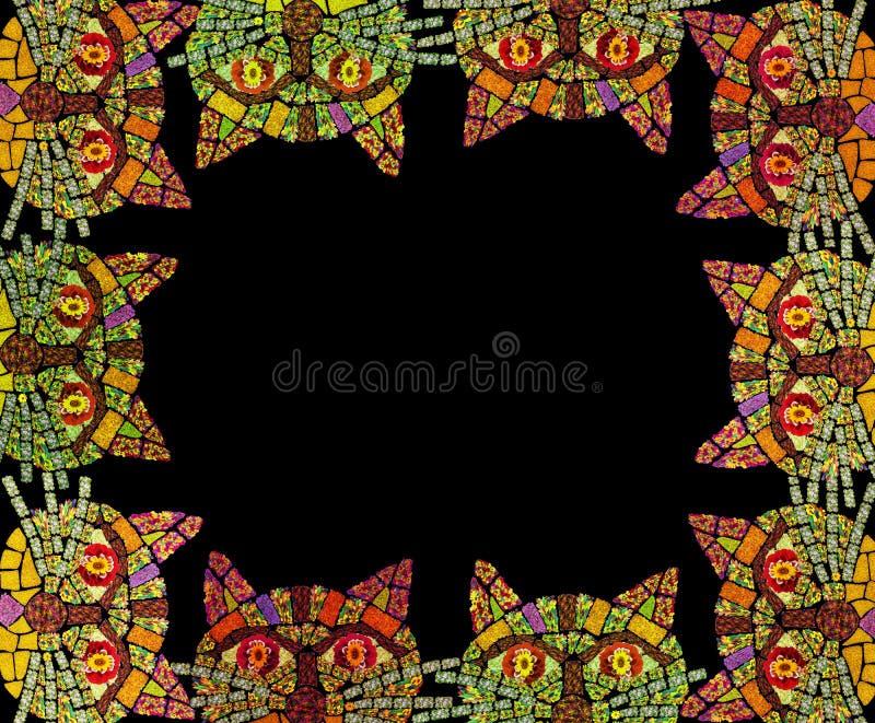 Mosaikkatzen-Fotorahmen stock abbildung