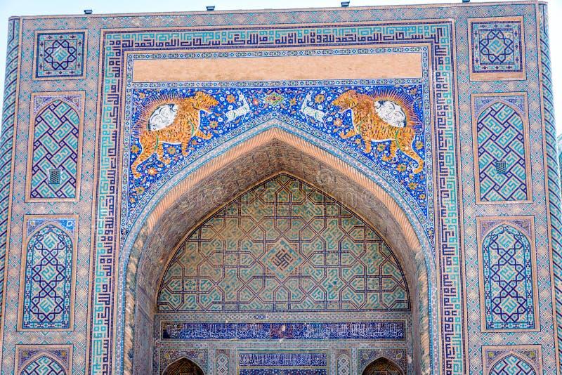 Mosaikkunst, Sher-Dor Madrasah, Samarkand, Usbekistan lizenzfreie stockbilder