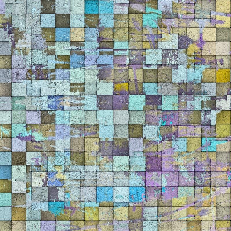 Mosaikmuster-Schmutzgrauwand der Zusammenfassung 3d stock abbildung