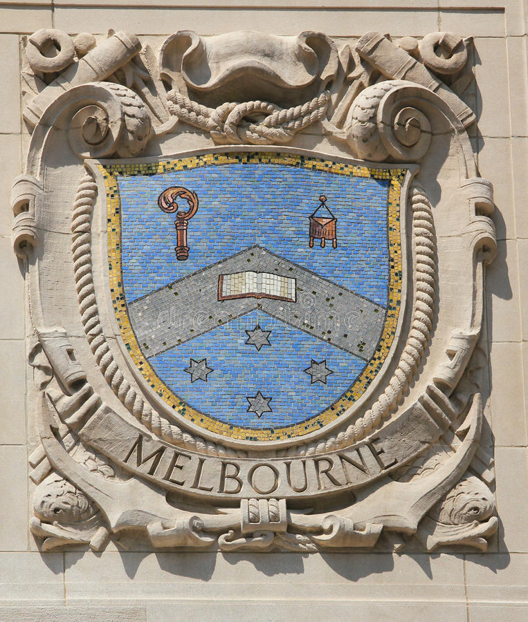 Mosaikschild von bekannter Hafenstadt Melbourne an der Fassade von pazifischen Linien Errichten Vereinigter Staaten Linie-Panama lizenzfreie stockbilder