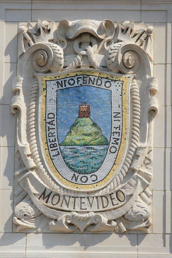 Mosaikschild von bekannter Hafenstadt Montevideo an der Fassade von pazifischen Linien Errichten Vereinigter Staaten Linie-Panama stockfotos