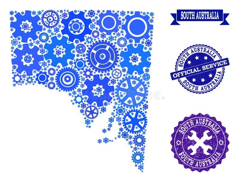 Mosaisk översikt av södra Australien med kuggar och gummistämplar för service royaltyfri illustrationer