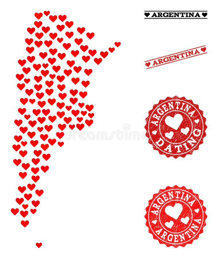 Mosaisk översikt för förälskelse av Argentina och Grungestämplar för valentin royaltyfri illustrationer
