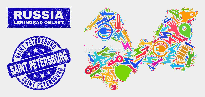 Mosaisk översikt för serviceLeningrad region och GrungeSt Petersburg stämpel vektor illustrationer