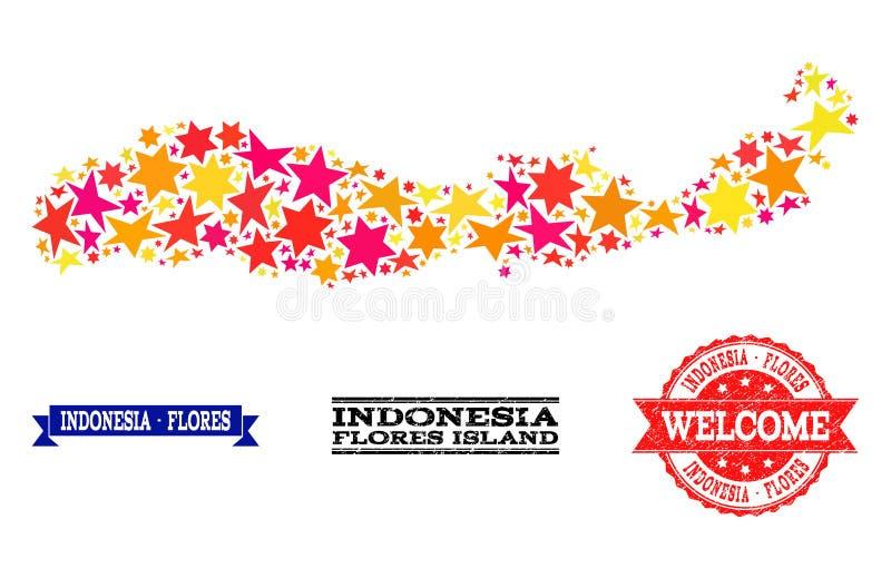 Mosaisk översikt för stjärna av Indonesien - Flores ö- och gummivattenstämplar royaltyfri illustrationer