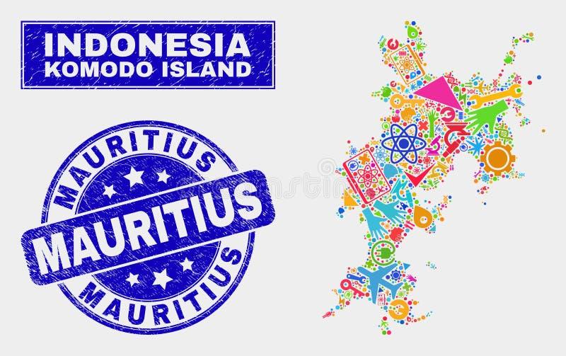Mosaisk översikt och Grunge Mauritius Stamp för teknologiKomodo ö stock illustrationer
