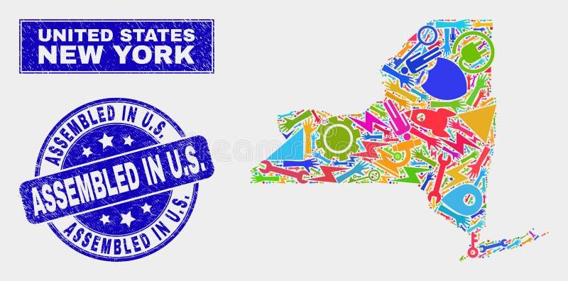 Mosaisk översikt och nödläge för teknologiNew York stat monterade i U S skyddsremsa vektor illustrationer