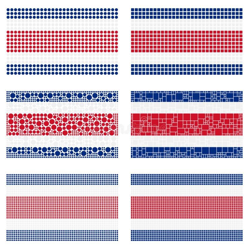 Mosaisk Costa Rica flaggauppsättning stock illustrationer
