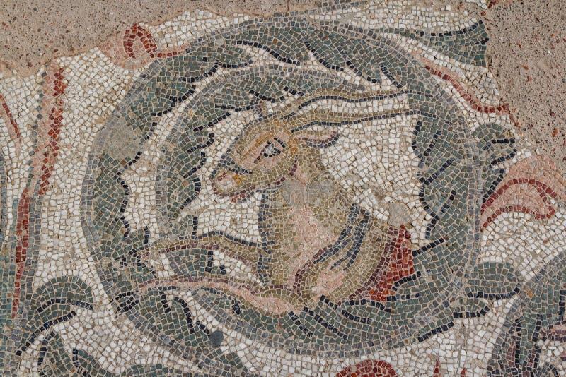 Mosaisk garnering av fördärvar av den forntida villan Romana del Casale arkivfoto
