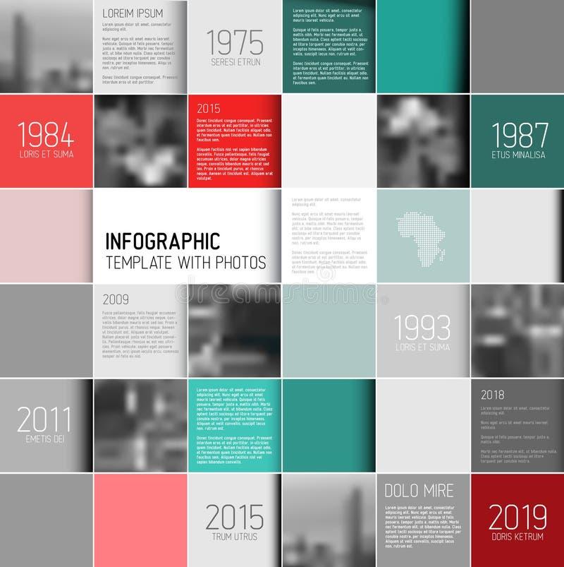 Mosaisk infographic mall med foto royaltyfri illustrationer