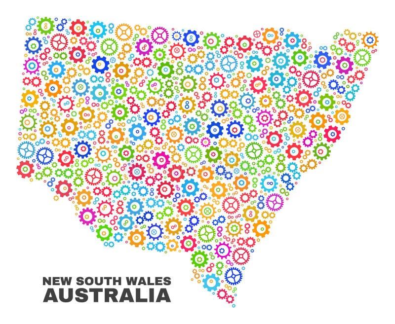 Mosaisk New South Wales översikt av kugghjulobjekt royaltyfri illustrationer