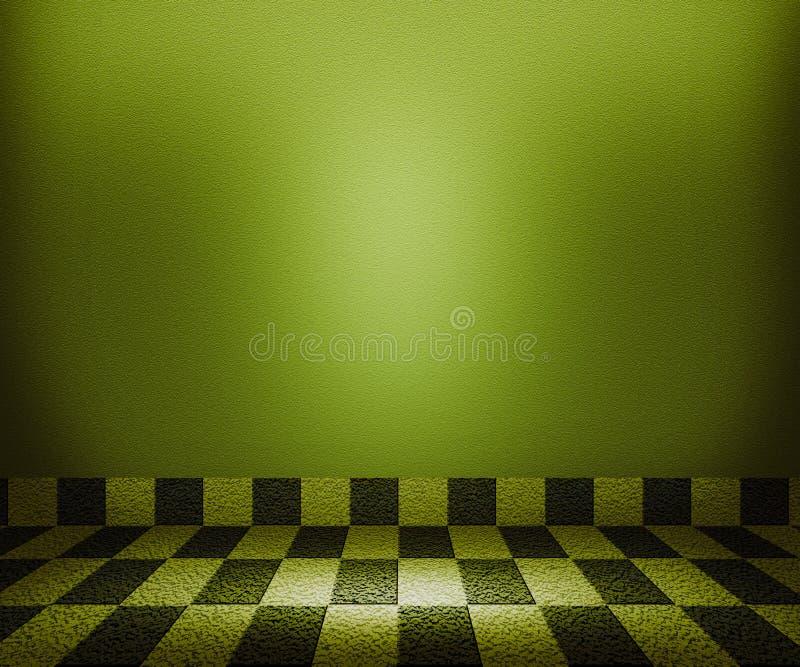 Mosaisk rumbakgrund för grön schackbräde stock illustrationer
