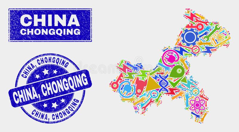 Mosaisk service Chongqing City Map och skrapade Kina, Chongqing Watermark royaltyfri illustrationer