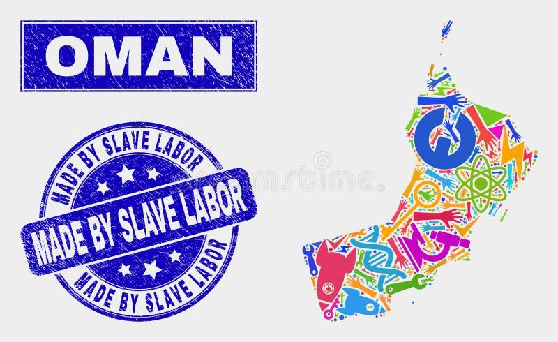 Mosaisk serviceOman översikt och nödläge som göras av slav- Labor Stamp Seal stock illustrationer