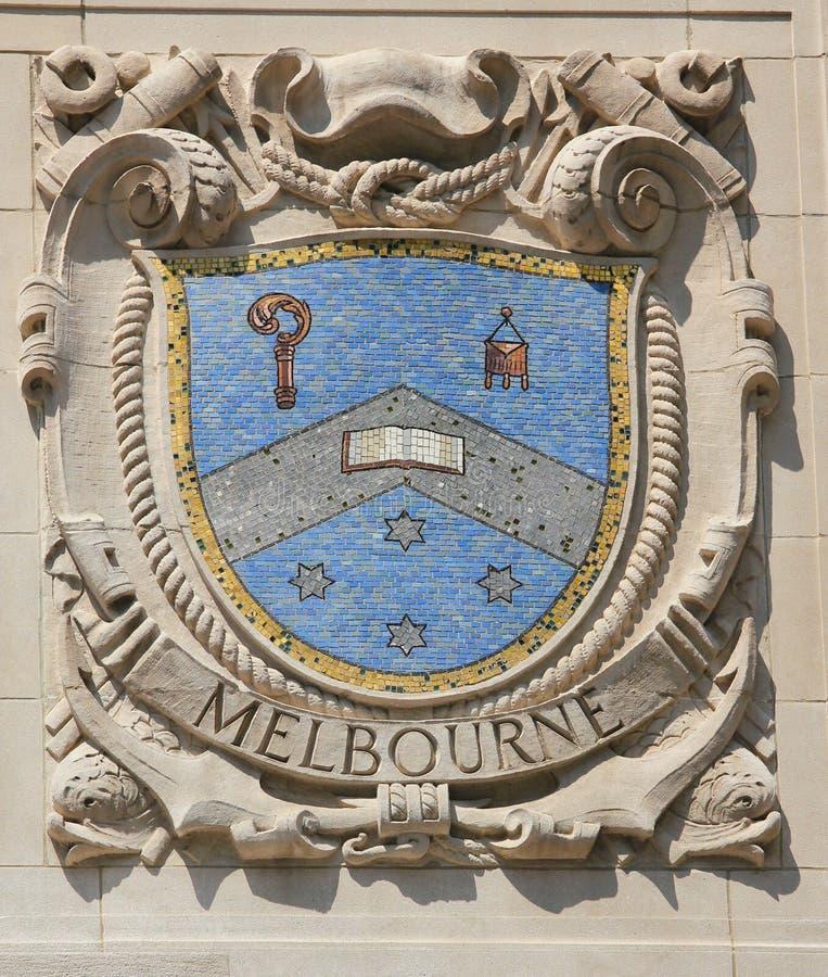 Mosaisk sköld av den berömda hamnstaden Melbourne på fasaden av Förenta staternaLinje-Panama Stillahavs- linjer byggande royaltyfria bilder