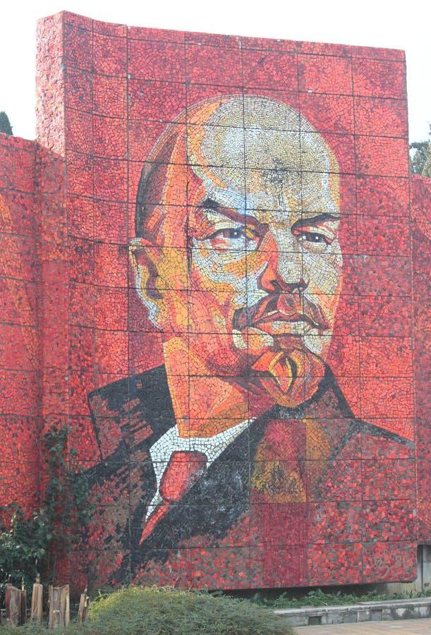 Mosaisk stående av Vladimir Lenin i Sochi, Ryssland fotografering för bildbyråer