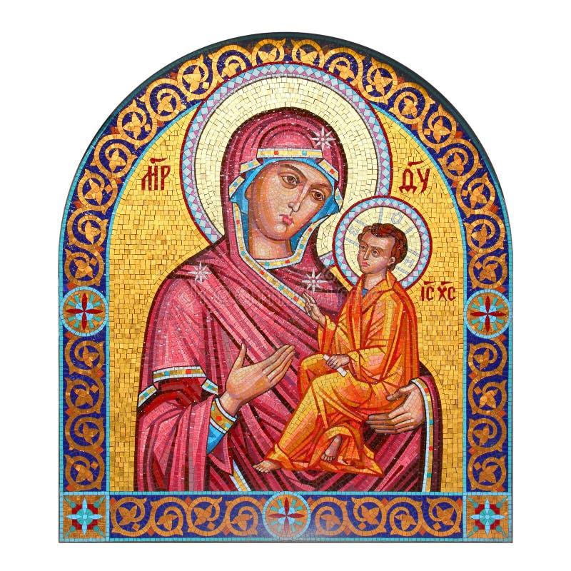 Mosaisk symbol av modern av guden med barnet royaltyfria foton