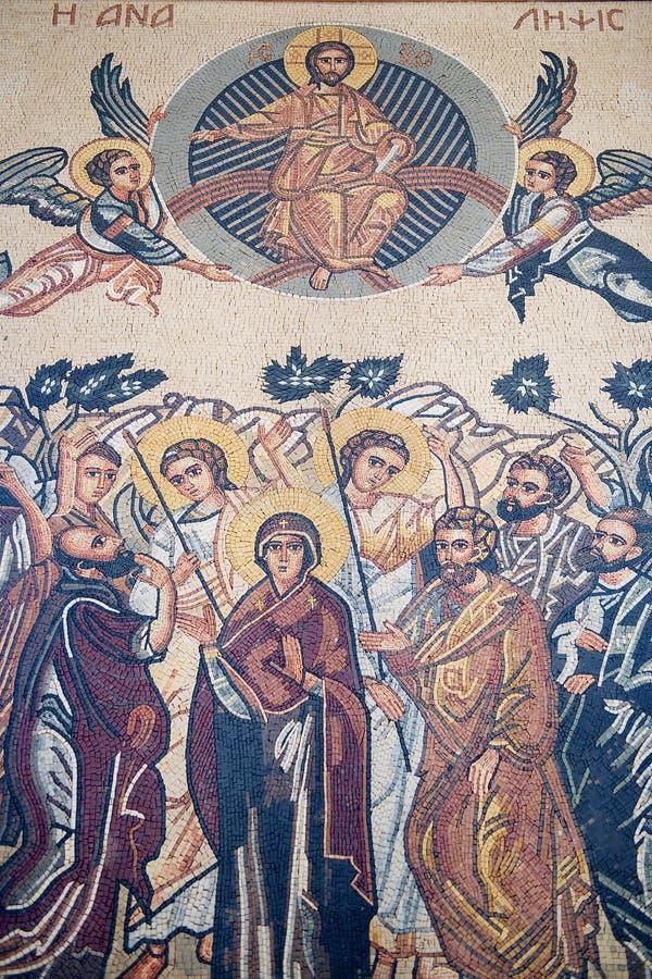 Mosaisk symbol i Sts George grekiska ortodoxa kyrka i Madaba, Jordanien royaltyfri fotografi