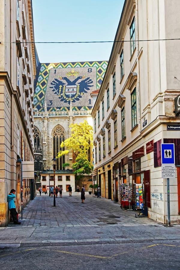 Mosaisk taktegelplatta av St Stephen Cathedral i Wien royaltyfri foto