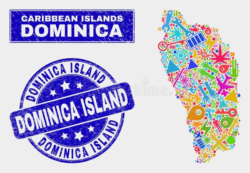 Mosaisk teknologi Dominica Island Map och Grunge Dominica Island Stamp stock illustrationer