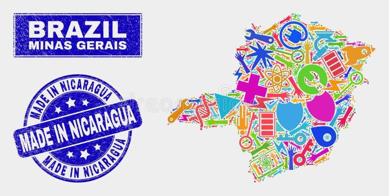 Mosaisk teknologi Minas Gerais State Map och nödläge som göras i den Nicaragua skyddsremsan vektor illustrationer