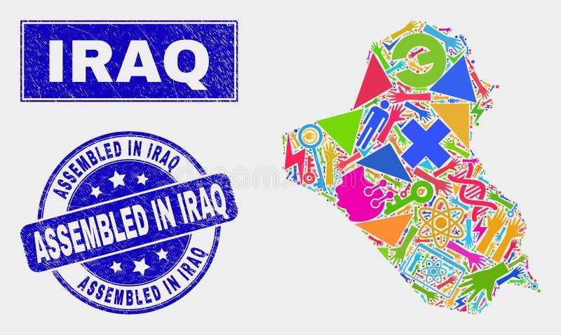 Mosaisk teknologiIrak översikt och skrapat monterat i den Irak vattenstämpeln vektor illustrationer