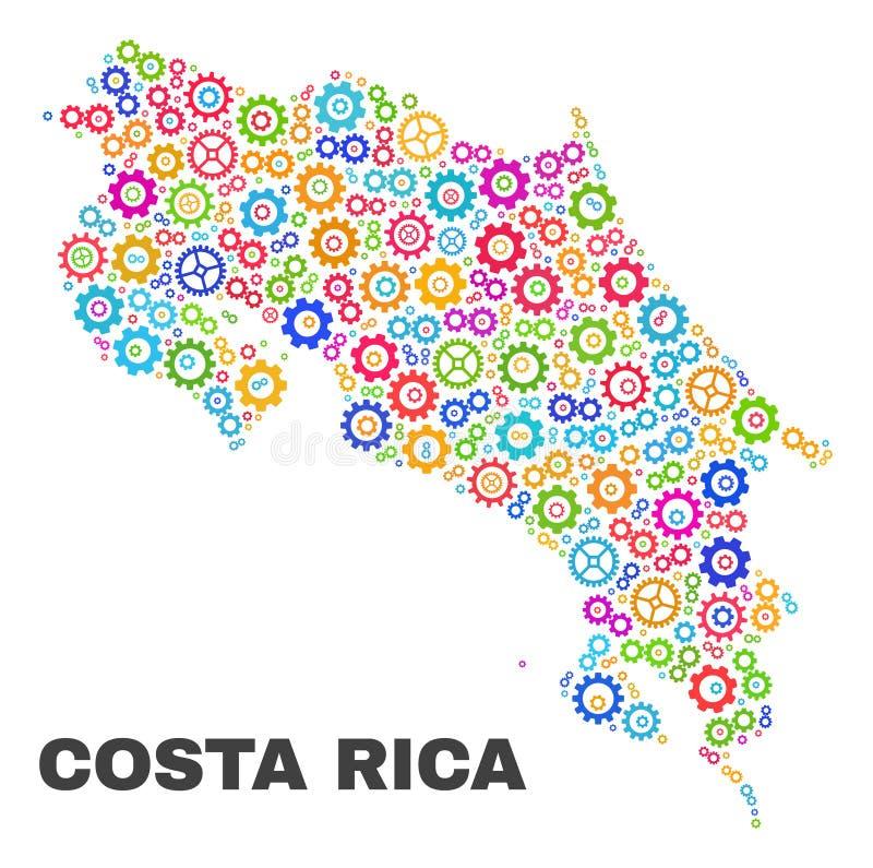 Mosaiska Costa Rica Map av kugghjulbeståndsdelar stock illustrationer