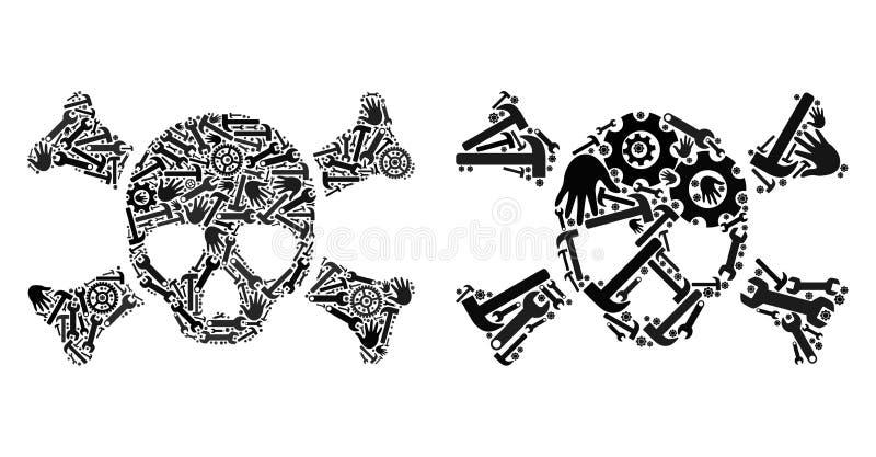 Mosaiska dödskallesymboler av reparationshjälpmedel royaltyfri illustrationer