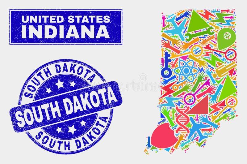 Mosaiska hjälpmedel Indiana State Map och skyddsremsa för nödlägeSouth Dakota stämpel royaltyfri illustrationer