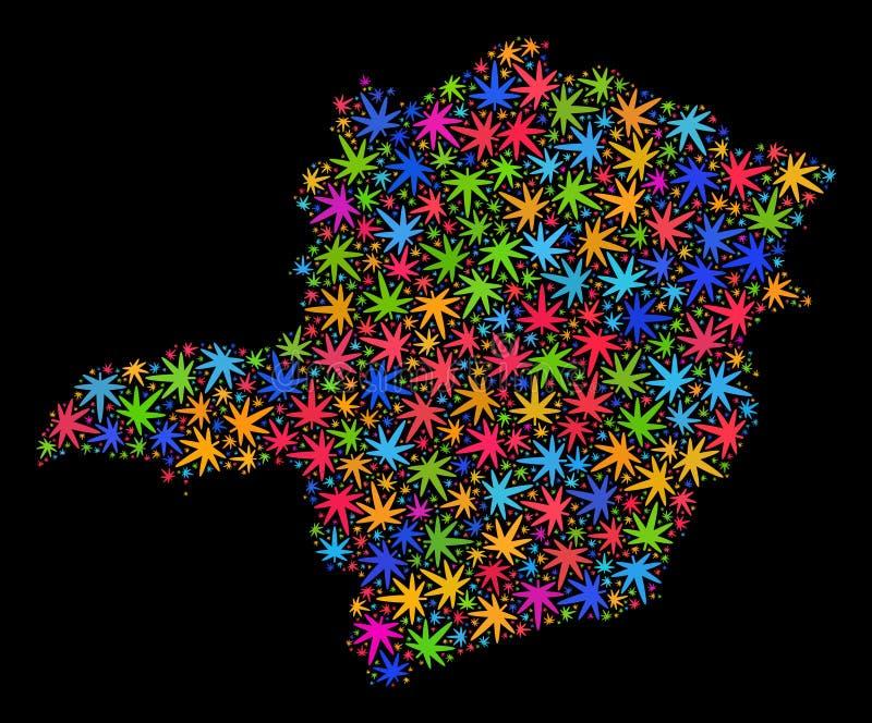 Mosaiska Minas Gerais State Map av färgrika cannabissidor vektor illustrationer