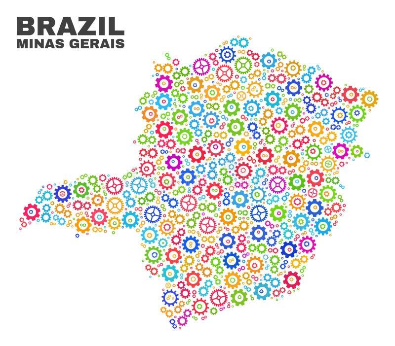 Mosaiska Minas Gerais State Map av kugghjulbeståndsdelar vektor illustrationer