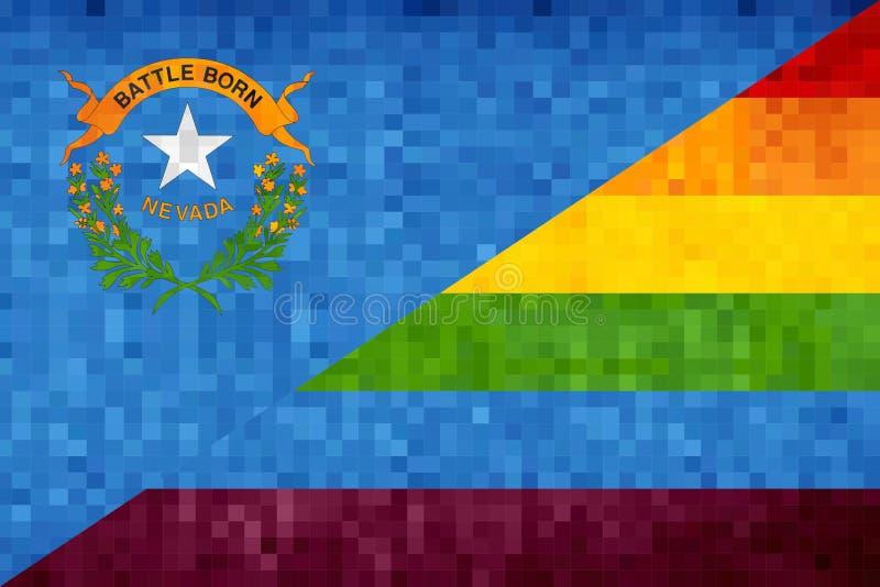 Mosaiska Nevada och glade flaggor stock illustrationer