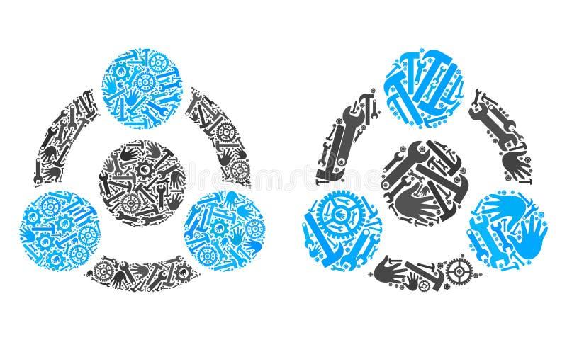 Mosaiska samarbetssymboler av reparationshjälpmedel stock illustrationer