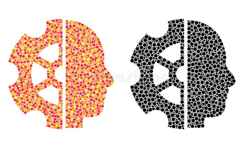 Mosaiska symboler för prickigt intellekt vektor illustrationer