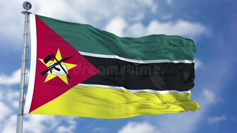 Mosambik-Flagge in einem blauen Himmel stockbild