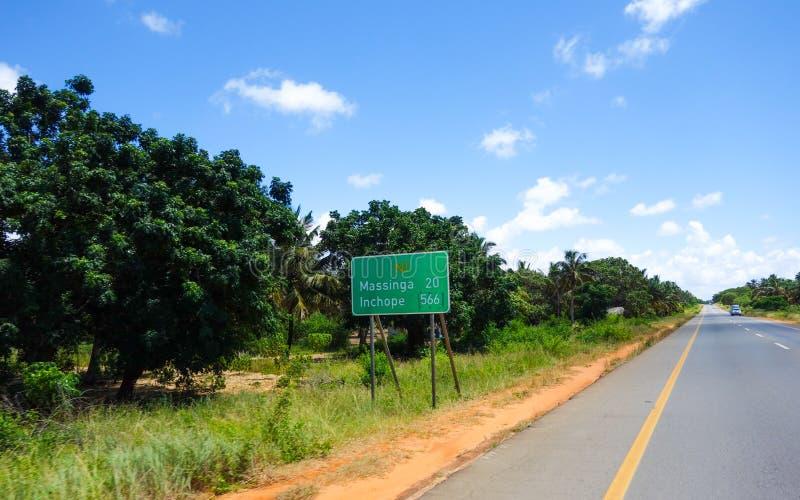 Mosambik-Wegweiser stockbild