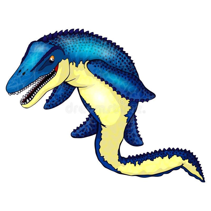 Mosasaurus bonito dos desenhos animados Ilustração isolada de um dinossauro dos desenhos animados ilustração do vetor