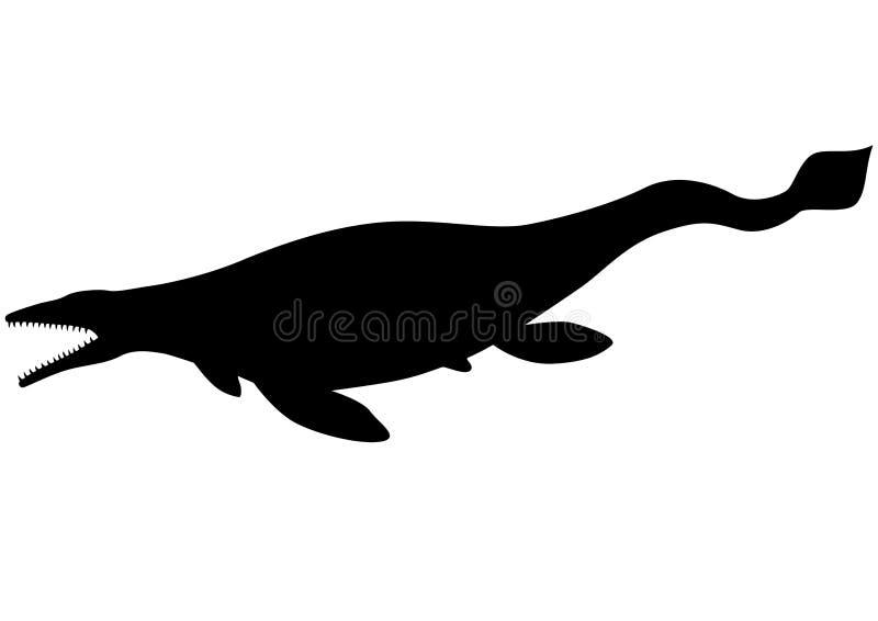 Mosasaurus (Tylosaurus) silhouette royaltyfri illustrationer