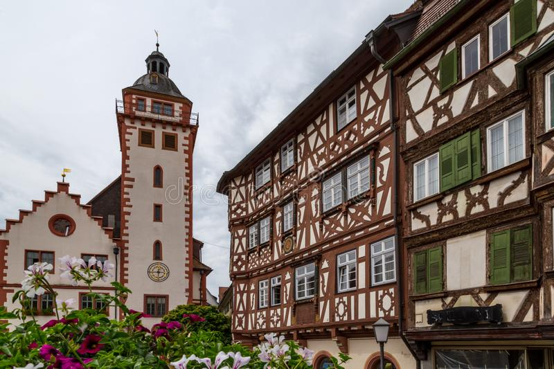 Mosbach helft-betimmerde huizen stock afbeelding