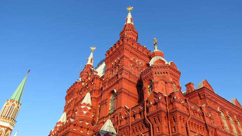 MOSCÚ, CUADRADO ROJO, indica el museo histórico (nanovatio) y la tienda de la GOMA foto de archivo