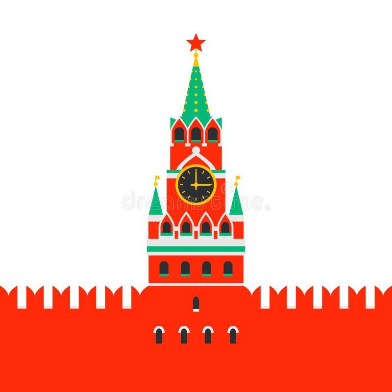 Moscú Kremlin Torre de Spasskaya del Kremlin en cuadrado rojo en Moscú, Rusia Señal nacional rusa en estilo plano libre illustration