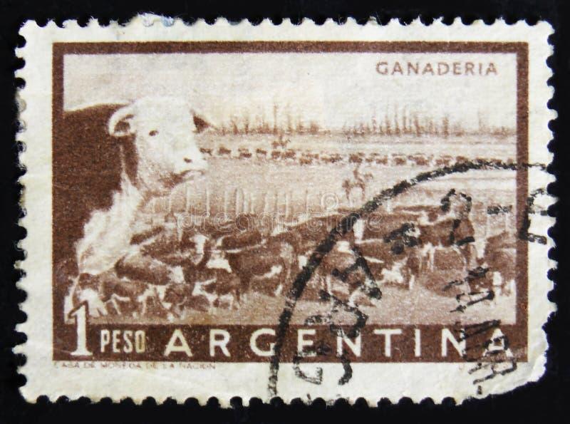 MOSCÚ, RUSIA - 2 DE ABRIL DE 2017: Un sello de los posts impreso en Argentin imágenes de archivo libres de regalías