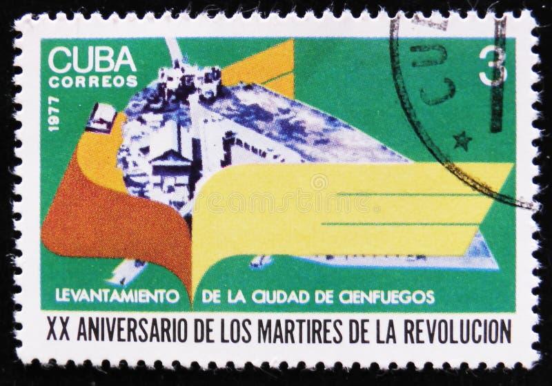 MOSCÚ, RUSIA - 2 DE ABRIL DE 2017: Un sello de los posts impreso en el revelador de Cuba foto de archivo libre de regalías
