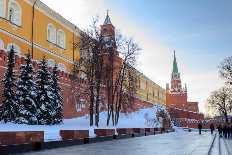 Moscú, Rusia - 14 de febrero de 2018: Conjunto arquitectónico conmemorativo de la tumba del soldado desconocido en el jardín de A fotografía de archivo