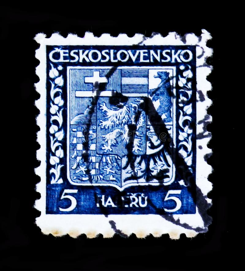 MOSCÚ, RUSIA - 20 DE JUNIO DE 2017: Un sello impreso en Czechoslovaki fotografía de archivo libre de regalías
