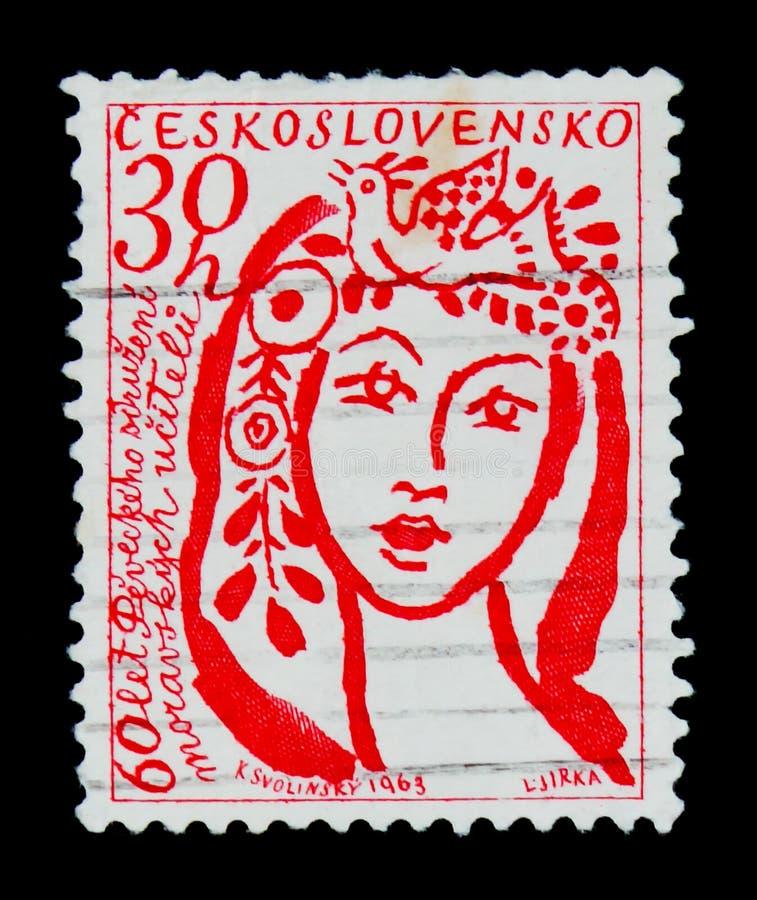MOSCÚ, RUSIA - 20 DE JUNIO DE 2017: Un sello impreso en Czechoslovaki imagen de archivo libre de regalías