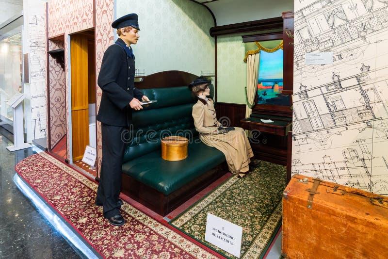 MOSCÚ, RUSIA - 11 de marzo 2017 Cupé viejo de la clase 1 en el museo del ferrocarril de Moscú fotografía de archivo libre de regalías