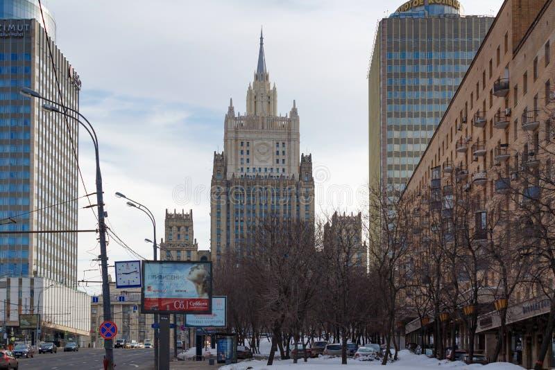 Moscú, Rusia - 25 de marzo de 2018: Edificio del Ministerio de Asuntos Exteriores de la Federación Rusa en el bulevar de Smolensk foto de archivo