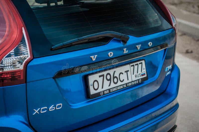 MOSCÚ, RUSIA - 20 de mayo de 2017 ESTRELLA POLAR de VOLVO XC60, opinión del delantero-lado Prueba de la nueva estrella polar de V fotos de archivo