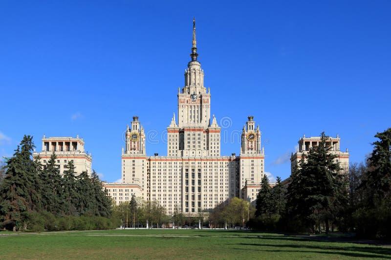 Moscú, Rusia - 3 de mayo de 2019: Universidad de estado de Moscú en primavera fotografía de archivo libre de regalías